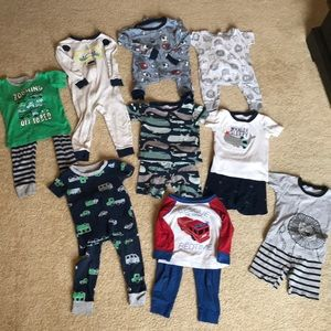 Bundle of 9 Carter's cotton jammies
